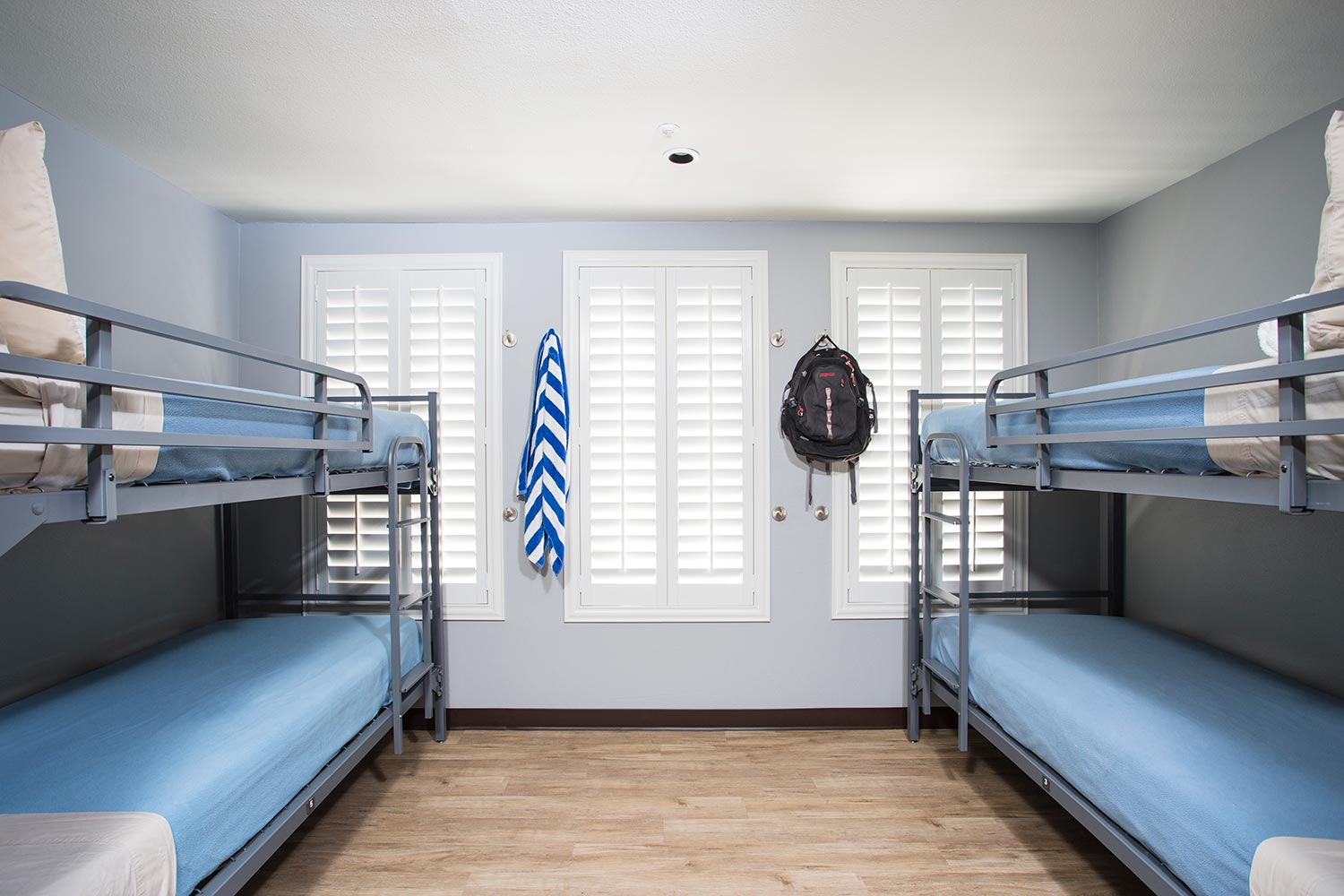 Room view with four bunk beds.