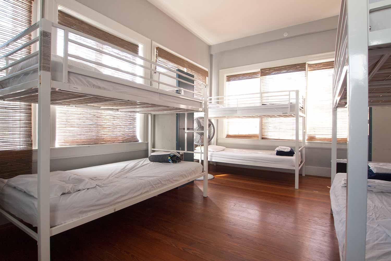 Dorm beds in HI Houston Hostel.