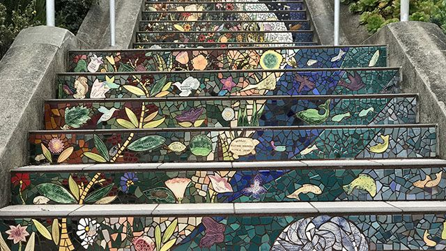 close-up of tiled steps in San Francisco