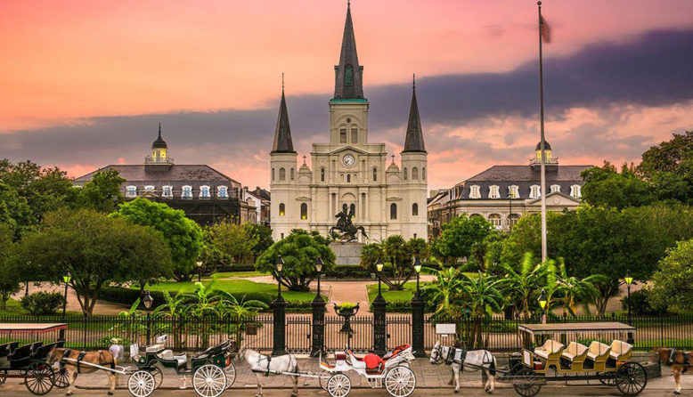 A view of Jackson Square in New Orleans at dusk