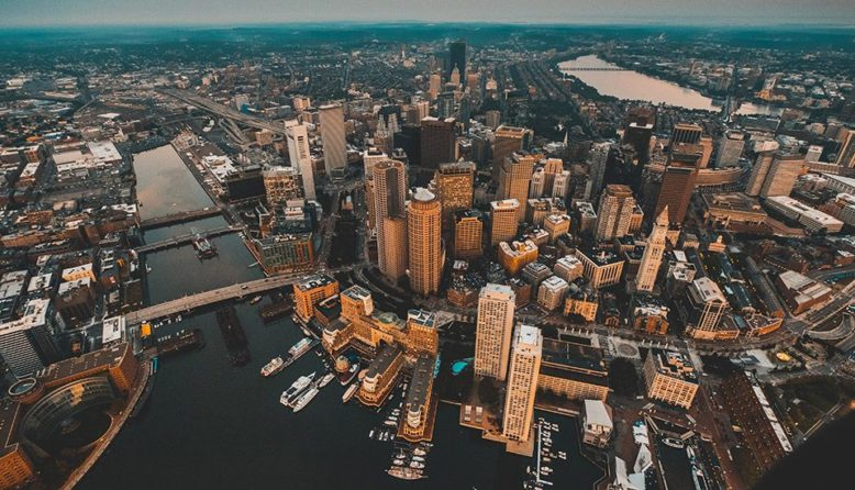 An aerial view of downtown Boston
