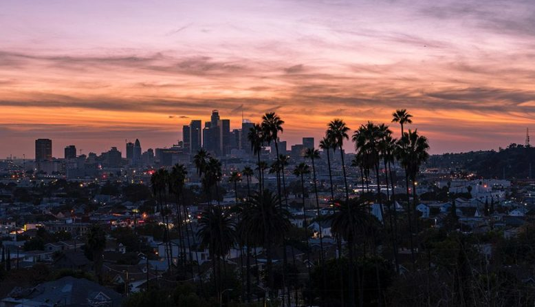 A view of downtown Los Angeles at dusk