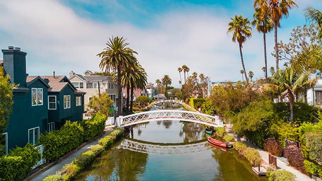 A view of the Venice canals in Los Angeles