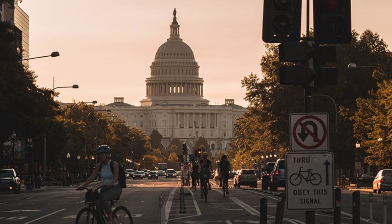 A view of the Capitol Building in DC at dusk