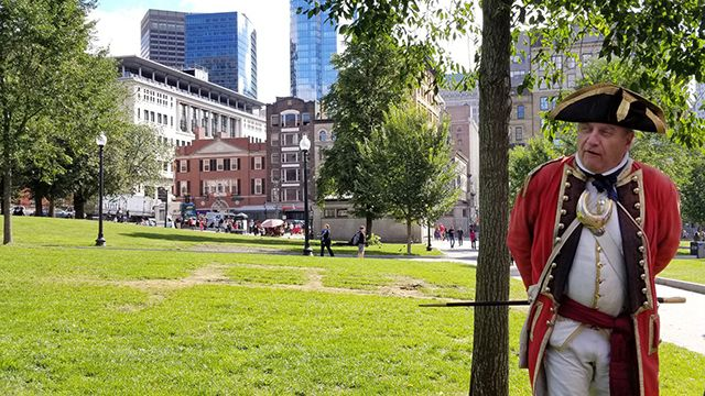 A recreationist on the Boston Freedom Trail