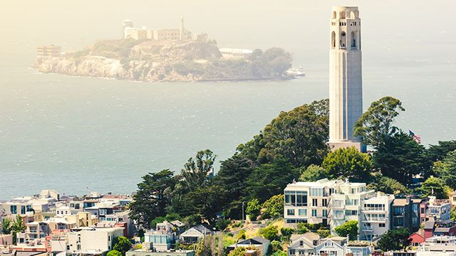 view of coit tower in san francisco