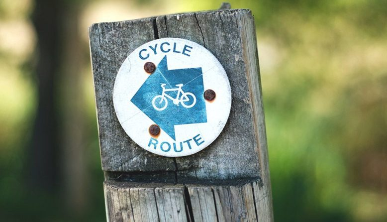 a sign showing cycle route