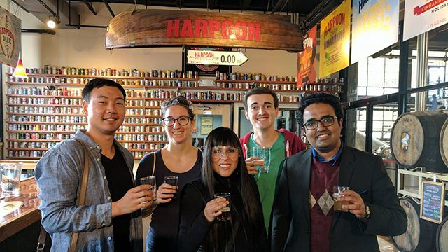 A group of people on a brewery tour in Boston