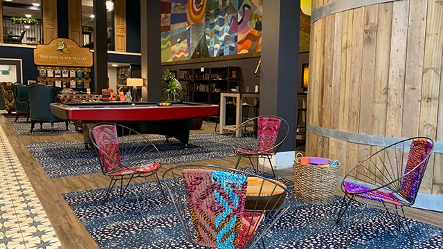 the lobby of HI New Orleans hostel