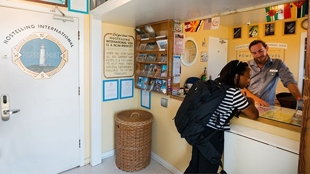 the front desk at HI Pigeon Point hostel