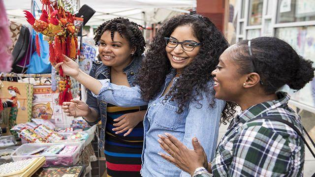 women shopping outside