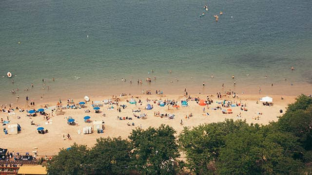 People on the beach on Lake Michigan in Chicago