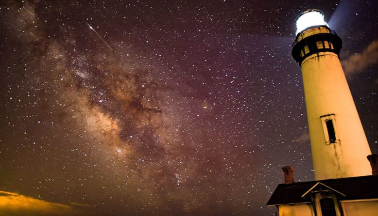 stars above Pigeon Point lighthouse