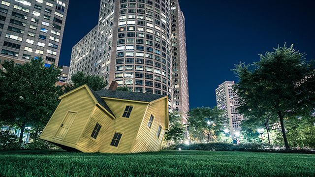 A sculpture in the Rose Kennedy Greenway in Boston at night
