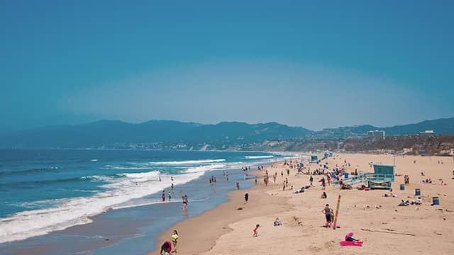 people on the beach in Santa Monica