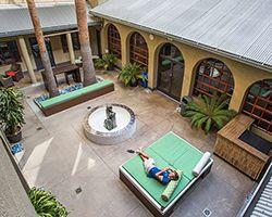 HI Los Angeles Santa Monica Hostel Courtyard.