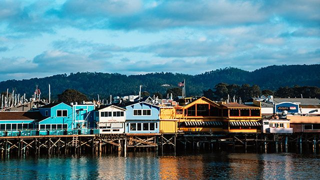 Bright buildings at a wharf in Monterey California