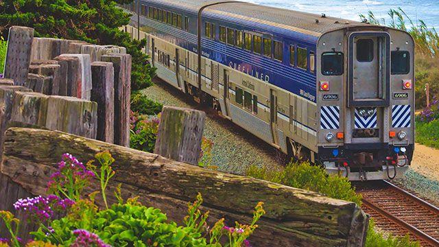amtrak train on the coast