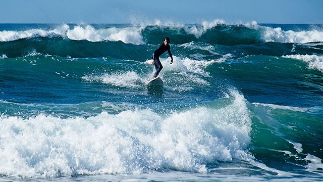 a person surfing