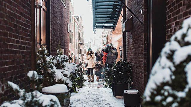 Beacon Hill in Boston in winter