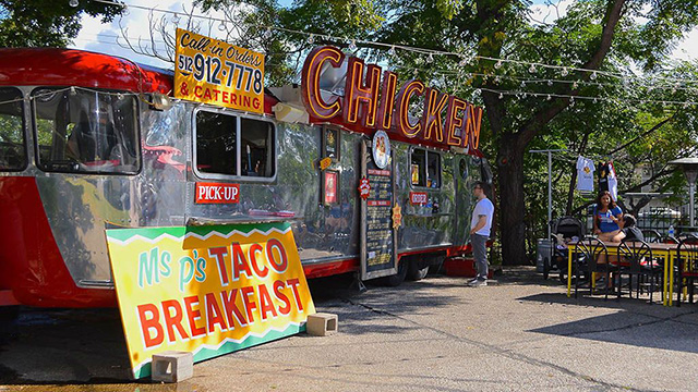 a food truck park in Austin