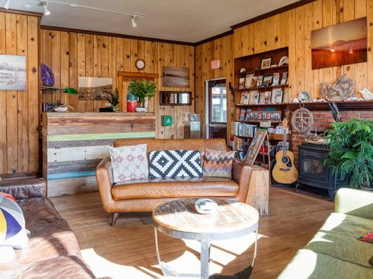 guest lounge at HI Point Reyes hostel
