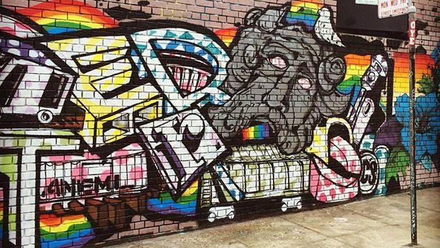 a rainbow mural in san francisco's tenderloin neighborhood