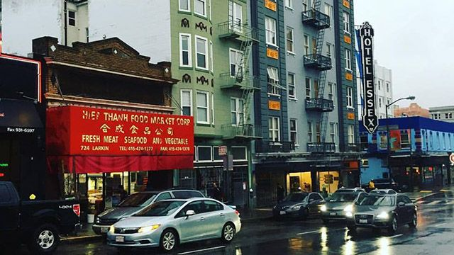 a streetscape in SF's Tenderloin neighborhood