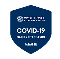 Badge for WYSE Travel Confederation COVID-19 Safety Standards declaration