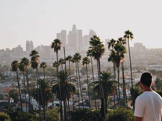 a man looking out over the LA city skyline