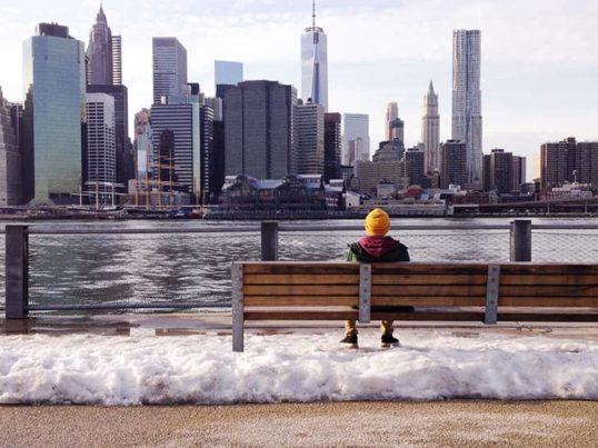 a person looking at the NYC skyline in the snow