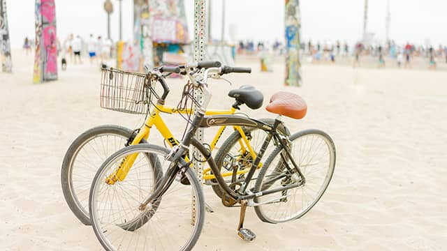 bicycles at Venice Beach in LA