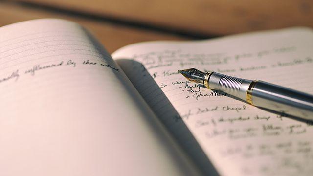 a hand-written journal