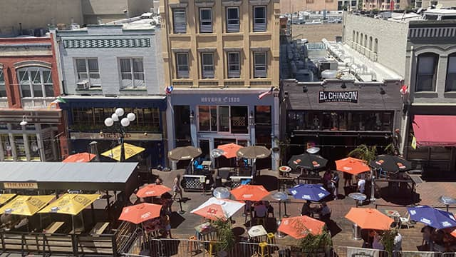 an aerial view of new outdoor dining in San Diego's Gaslamp Quarter neighborhood