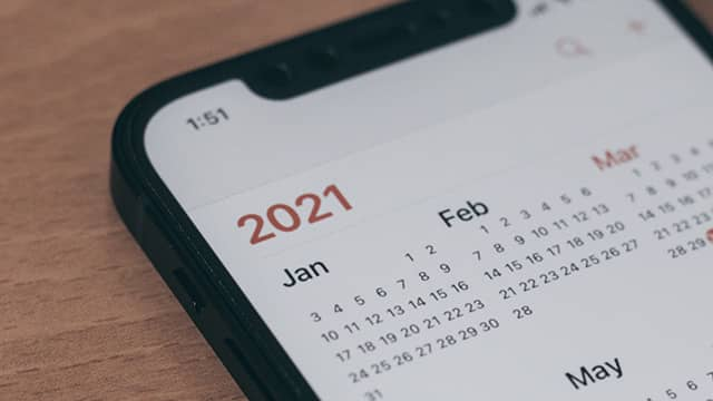the calendar screen on an iphone
